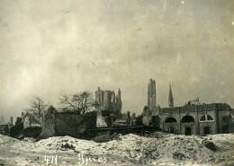 Belgique Ypres Ieper Ruines WWI Désastres De La Guerre Ancienne Photo 1918 - Guerre, Militaire
