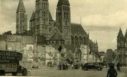 Belgique Tournai Eglise Ruines WWI Camion De Demenagement Delariviere Ancienne Carte Photo 1945 - Guerra, Militari