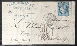 LETTRE FRANCE Alsace Lorraine Occupation N°60 I Bord De Feuille !!  De Nancy Pour STRASBOURG + Taxe 20c Allemande - Alsace-Lorraine