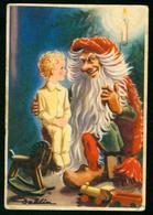 AKx Künstlerkarte Sign. Gunnar Dahlin - God Jul - 7,4x10,9 - Weihnachten Kind Weihnachtsmann Jul-tomte - Santa Claus