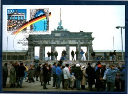 ALLEMAGNE     Carte Maxi Cachet  1er Jour  1990 Porte De Brandebourg     Rideau De Fer     Mur De Berlin - Monuments