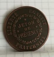 JETON Medaille FRANC MAÇONNERIE FRANC MAÇON Présence Rochefort - France