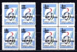 1956 TURKEY SURCHARGED TURKISH RED CRESCENT STAMPS BLOCK OF 4 MNH ** - 1921-... République