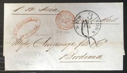 """Mexique Janv 1862 Lettre """"acheminée"""" De L'agence """"Peterssen & BARJAU"""" Par Le Steamer ASIA Pour Bordeaux Par NEW YORK - Mexico"""