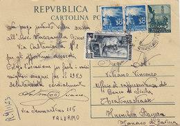 ITALIA  _ 1953 /  GERMANIA - Card _ Cartolina Da Lire 20 + Fiaccola Lire 30 X 2 + 5 Italia Al Lavoro - 1946-60: Poststempel