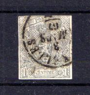 1866-67   Belgique,Petit Lion Non Dentelé, 22 Ø 3 Mars 67, Cote 170 €, - 1865-1866 Perfil Izquierdo
