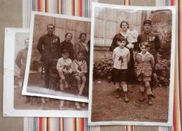 Lot De 3 Photos Animees Militaire Famille, Officier,medailles A Identifier - Guerra, Militari