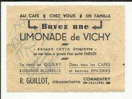 "PUBLICITE . LIMONADE DE VICHY ARMAND ANCEL  . DEPOSITAIRE "" R. GUILLOT "" COMMENTRY - Pubblicitari"