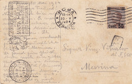ROMA _ 1924 /  MESSINA  - Card _ Cartolina Postale - Michetti Sovrastampato Cent.50 - Storia Postale