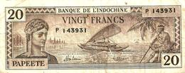 FRANCAISE POLYNESIA 20 FRANCS BROWN WOMAN HEAD BOAT FRONT FRUITS BACK ND(1944) P20a F+ CV$85US READ DESCRIPTION!! - Papeete (Polynésie Française 1914-1985)