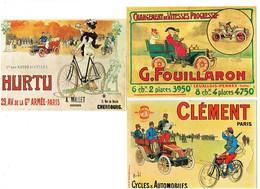Lot 3 Cpm - Vieille Affiche Publicité G. FOUILLARON Levallois Perret CLEMENT Cycles Automobiles Soldat Bicyclette HURTU - Künstlerkarten