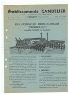 ETABLISSEMENT CANDELIER à BUCQUOY ( PDC) PULVERISEUR  DECHAUMEUR 1953 - Publicités