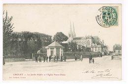 CPA. Cholet. Le Jardin Public Et L'église Notre Dame .Animation.    (805) - Cholet