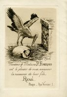 Faire-part De Naissance De René Fumerand 31 Mai 1905 - Gravure Avec Une Cigogne Et Un Enfant Dans Un Oeuf. - Birth & Baptism