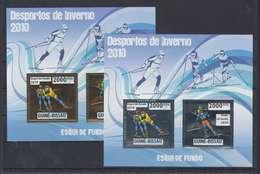 GUINEE BISSAU GUINE 2010 - WINTER OLYMPIC SPORT GAMES VANCOUVER -  SKI DE FOND SKIING FUNDO - GOLD + SILVER - RARE MNH - Invierno 2010: Vancouver