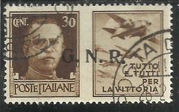 ITALY KINGDOM ITALIA REGNO 1944 REPUBBLICA SOCIALE ITALIANA RSI GNR PROPAGANDA CENT 30 BRUNO III USED - 4. 1944-45 Repubblica Sociale