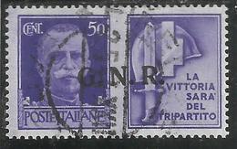 ITALIA REGNO ITALY KINGDOM 1944 PROPAGANDA DI GUERRA CENT 50 VIOLETTO IV USATO USED OBLITERE' - 4. 1944-45 Repubblica Sociale