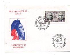 OBLITERATION NORDPOSTA PRO ET PHILEXFRANCE 89 à HAMBOURG 1988 - Bolli Commemorativi