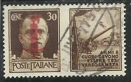 ITALY KINGDOM ITALIA REGNO 1944 REPUBBLICA SOCIALE ITALIANA RSI PROPAGANDA FASCIO CENT 30 BRUNO II USATO USED OBLITERE' - 4. 1944-45 Repubblica Sociale