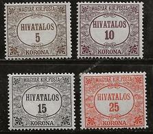 Hongrie 1922-1924 N° Y&T :  SE. 11 à 14 * - Dienstmarken