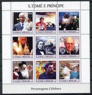 Sao Tome And Principe, 2003, United Nations, Kofi Annan, Pope, Senna, F1 Racing, Dunant, Red Cross, Lady Di, Train, MNH - Sao Tome Et Principe