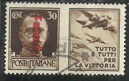 ITALY KINGDOM ITALIA REGNO 1944 REPUBBLICA SOCIALE ITALIANA RSI PROPAGANDA FASCIO CENT 30 BRUNO III USATO USED OBLITERE' - 4. 1944-45 Repubblica Sociale
