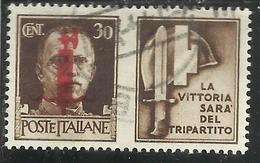 ITALIA REGNO ITALY KINGDOM 1944 RSI REPUBBLICA SOCIALE PROPAGANDA DI GUERRA WAR PROMOTION CENT. 30 IV TIPO USATO USED - 4. 1944-45 Repubblica Sociale
