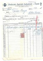 FAT151 - FATTURA 1927-  SINDACATO AGRICOLO INDUSTRIALE TRENTO - MARCHE DA BOLLO - Italia