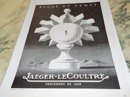 ANCIENNE PUBLICITE ELOGE DU TEMPS JAEGER 1942 - Autres
