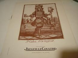 ANCIENNE PUBLICITE  JAEGER LE COULTRE HABIT D ORLOGEUR 1946 - Jewels & Clocks