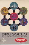 ANTIGUA ETIQUETA DE LA COMPAÑIA AEREA SABENA (AVION-PLANE) BRUSSELS - BRUSELAS - Étiquettes à Bagages