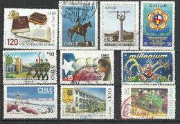 TEN AT A TIME - CHILE - LOT OF 10 DIFFERENT COMMEMORATIVE  3 - POSTALLY USED OBLITERE GESTEMPELT USADO - Chile