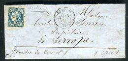 Lettre Avec Texte De Chambery ( Déchirure Dessus ) Pour L 'Isère En 1871 , Affranchissement Bordeaux - Marcophilie (Lettres)