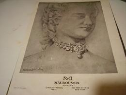 ANCIENNE PUBLICITE JOALLIER M. MAUBOUSSIN 1946 - Bijoux & Horlogerie
