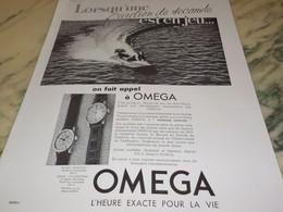 ANCIENNE PUBLICITE FRACTION DE SECONDES  MONTRE OMEGA 1939 - Bijoux & Horlogerie