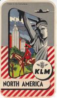 ANTIGUA ETIQUETA DE LA COMPAÑIA AEREA KLM (AVION-PLANE) NORTH AMERICA - ESTATUA LIBERTAD - Étiquettes à Bagages