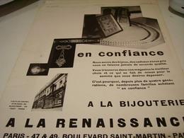 ANCIENNE PUBLICITE BIJOUTERIE A LA RENAISSANCE PARIS 1929 - Jewels & Clocks