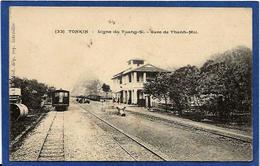 CPA Tonkin Ligne De Chemin De Fer Du Tuang Si Gare Station De Thanh Moi Train Non Circulé - Viêt-Nam