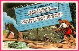 Télégramme - Famille Latrempe - Ane - Grenouille - Escargot - Animée - Vieilles Voiture - Humour - PHOTOCHROM - Humor