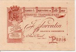 Paris Rue Clavel : Carte FLORENTIN Imprimeur (tarif Au Verso) (PPP14140) - Advertising