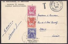 CPSM Taxée Taxe T 16f Tàd 1955 3 Timbre S Type Gerbes - Marcophilie (Lettres)