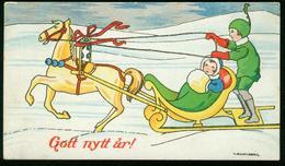 AKx Künstlerkarte Sign. V. Schonberg - Gott Nytt År - 11,8x6,8 - Neujahr Schnee Pferdeschlitten - Neujahr