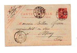 Affranchissement Sur Carte-Compiègne -1903-voir état- - Marcophilie (Lettres)