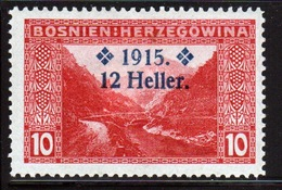 Bosnia 12 Heller Overprinted On 10 Heller Red Stamp From 1915  And In Mounted Mint Condition. - Bosnia And Herzegovina