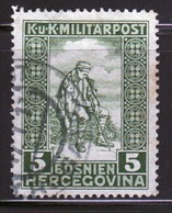Bosnia Military Post War Invalids Fund 5 Heller Green Stamp From 1916 In Fine Used Condition. - Bosnia And Herzegovina