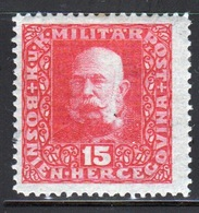 Bosnia Military Post 15 Heller Red Stamp Of Francis Joseph 1 From 1916 In Mounted Mint Condition. - Bosnia And Herzegovina