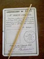 Ledenkaart  DIAMANT CLUB VAN ANTWERPEN   Dienstjaar  1932 - 1933 - Autres