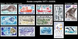 TAAF Année Complète 1977 + AVION - Yv. 64 à 73 + PA 48 à 50 ** MNH SUP  Cote= 69,40 EUR - 13 Timbres  ..Réf.TAF20893 - Full Years