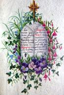 AQUARELLE SUR VELIN TRES ELABOREE AVEC TEXTE MANUSCRIT A LA PLUME TRES FINE COMPOSITION12 X 8 CM - Watercolours