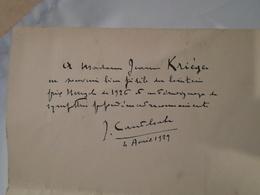 Joseph Canteloube Billet Autographe De 1929 à La Soprano Jeanne Krieger / Piano, Pianiste, Compositeur... - Autographes